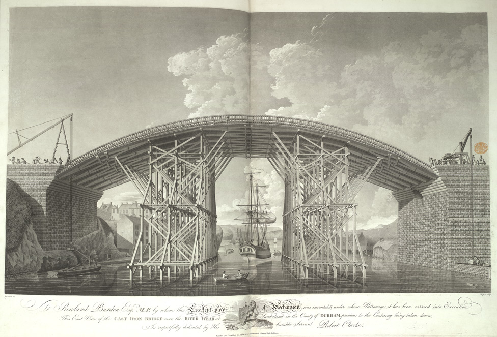 East view of the cast iron bridge over the River Wear at Sunderland, previous to the centring being taken down
